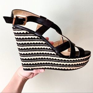 Jessica Simpson Black Strappy Open Toe Wedges 8.5
